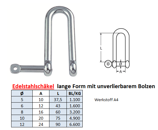 Edelstahlschäkel D-Form Schäkel mit unverlierbarem Bolzen